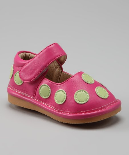 Peepers Hot Pink & Lime Polka Dot Squeaker Mary Jane