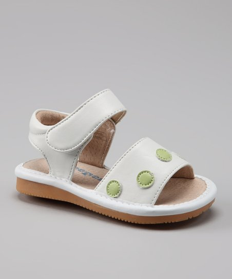 White &amp; Lime Green Polka Dot Squeaker Sandal