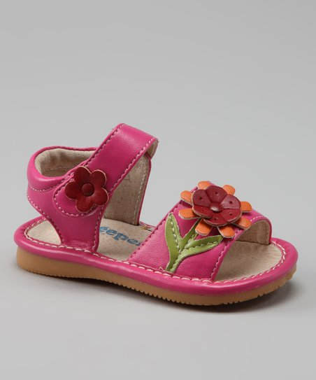 Hot Pink Flower Squeaker Sandal