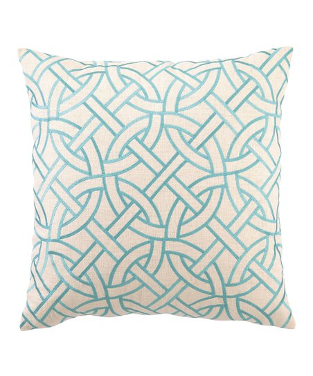 Peking Handicraft Turquoise Circle Link Pillow