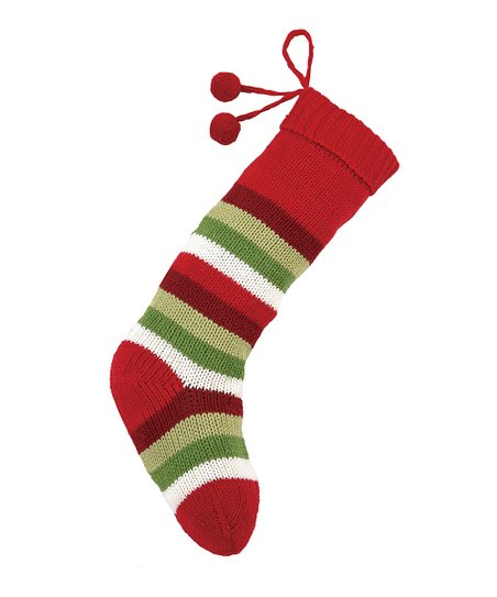 Red Stripe Pom-Pom Knit Stocking