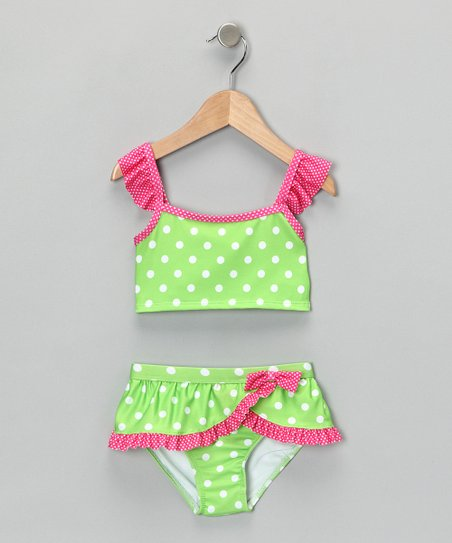 Green & Pink Polka Dot Tankini - Girls