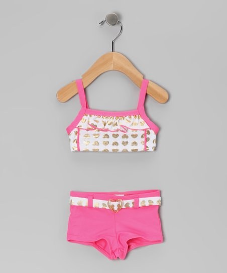Pink & Gold Foil Heart Bikini - Infant