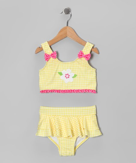 Yellow Gingham Flower Skirted Bikini - Infant & Girls