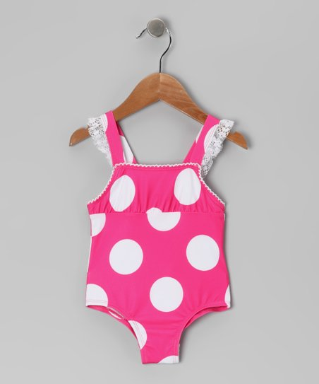 Fuchsia Giant Polka Dot One-Piece - Girls