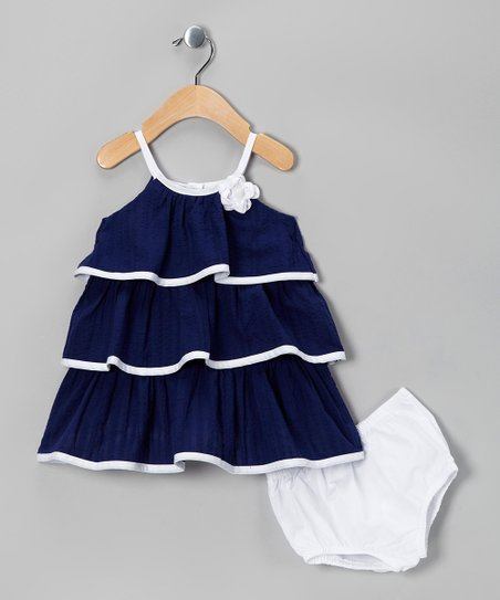 Blue Tiered Dress & Diaper Cover - Infant