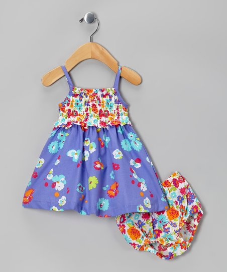 Purple Floral Babydoll Dress & Diaper Cover - Infant