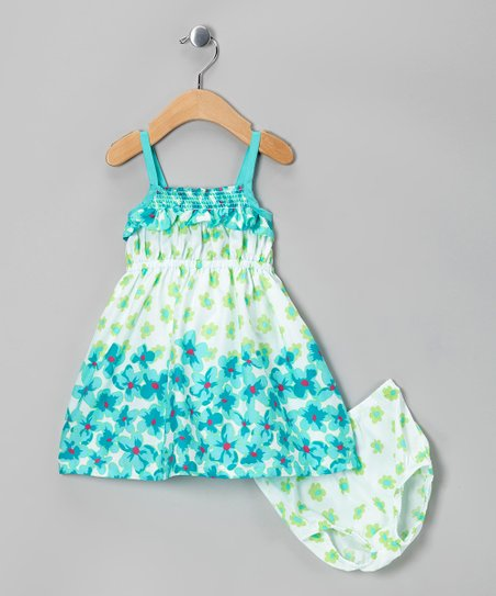 Aqua & White Floral Ruffle Dress & Diaper Cover - Infant