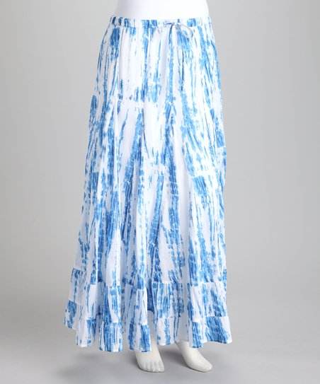 Blue & White Tie-Dye Maxi Skirt