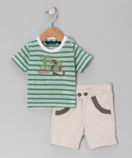 Green Stripe Tee & Shorts - Infant
