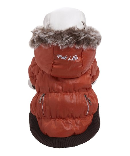 Orange Metallic Hooded Fashion Parka