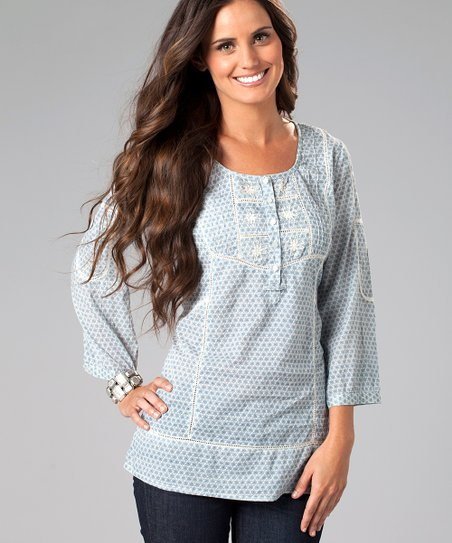 Light Blue Embroidered Daisy Top