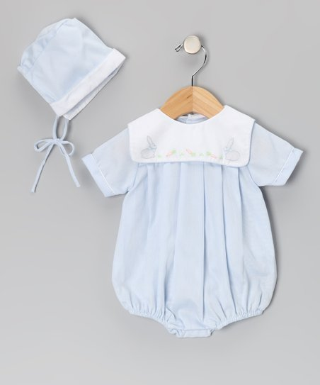 Blue & White Bunny Collar Bubble Bodysuit & Beanie - Infant