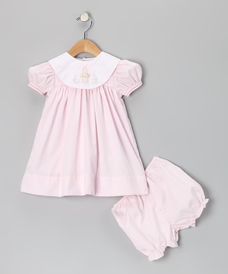 Pink &amp; White Easter Basket Collar Dress &amp; Bloomers - Infant
