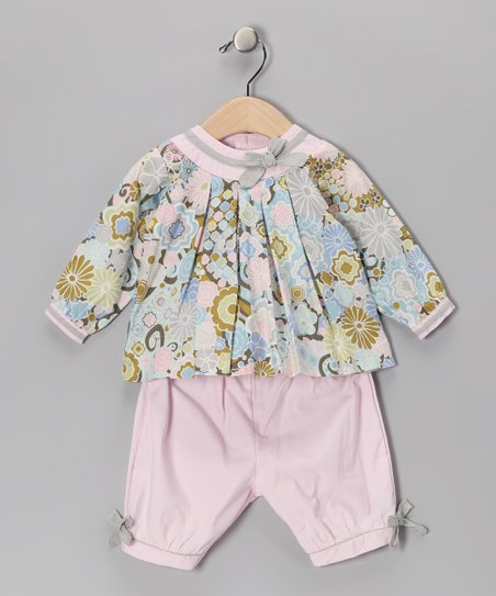 Blue & Pink Floral Top & Pants - Girls