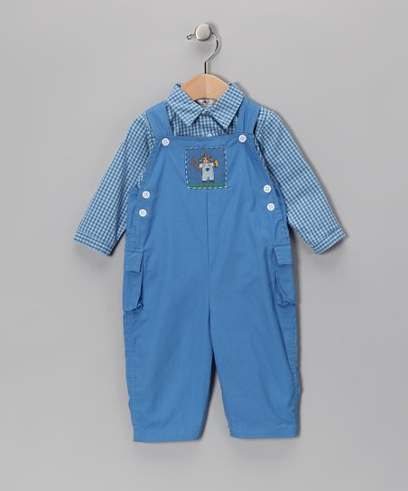 Petit Ami Blue Button-Up & Monkey Overalls - Infant & Toddler