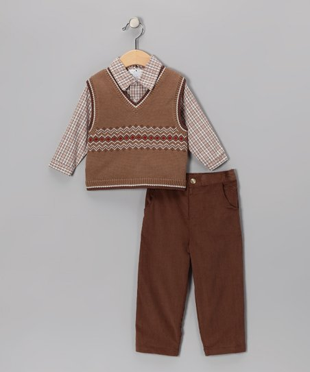 Brown Knit Vest Set - Infant