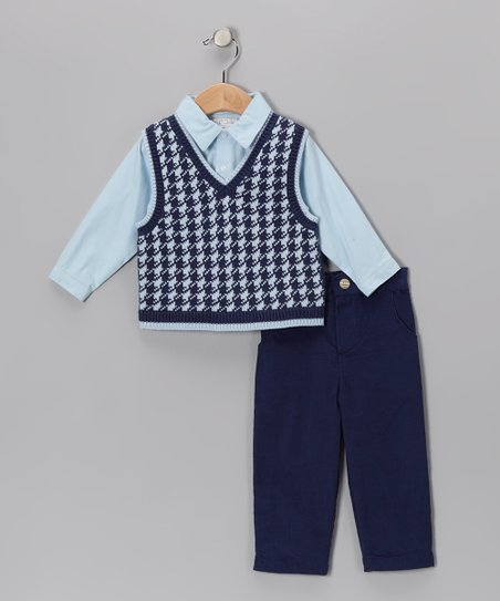 Blue Houndstooth Sweater Vest Set - Infant & Toddler