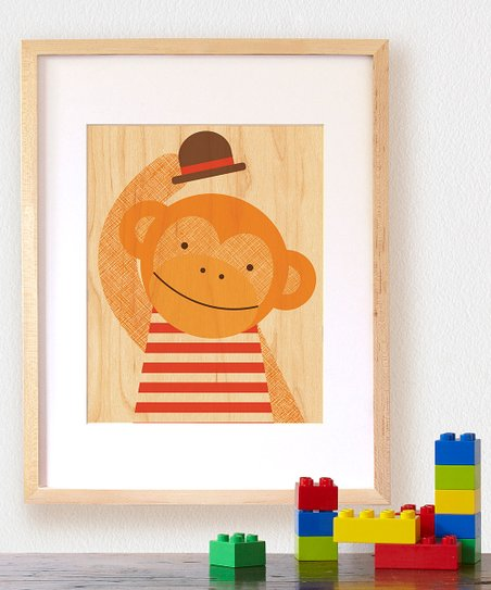 Hello Monkey Small Wood Print