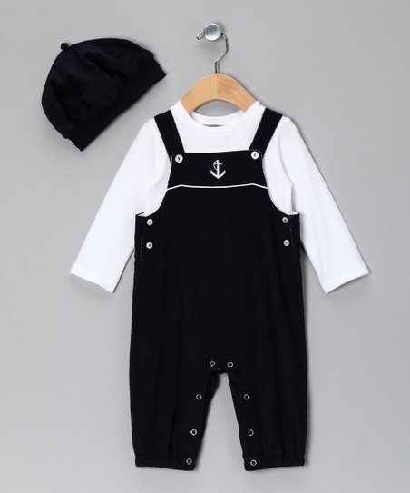 Navy Sailor Overalls Set - Infant