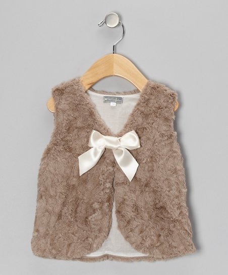 Brown Bow Tie Faux Fur Vest - Infant & Toddler