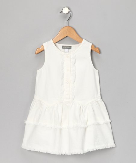 White Denim Frill Dress - Girls