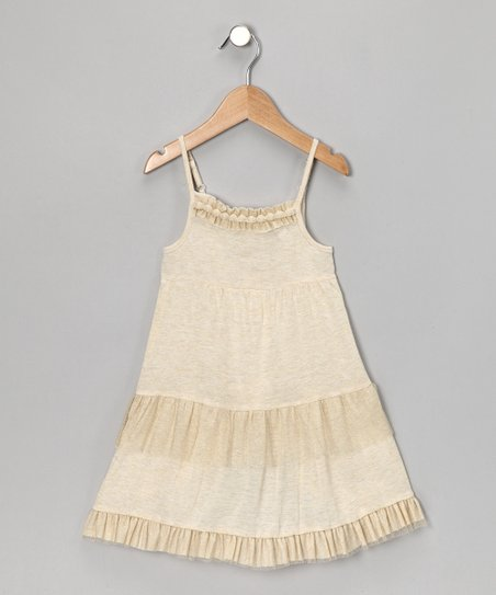Beige Gold Tulle Dress - Toddler & Girls