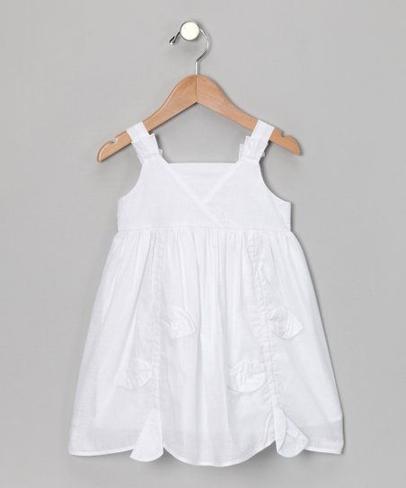 White Leaf Scalloped Dress - Toddler & Girls