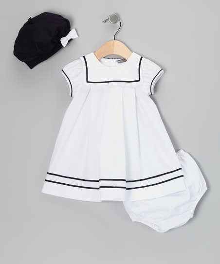 White & Navy Sailor Dress Set - Infant
