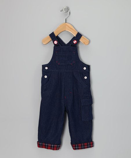Navy Anchor Denim Overalls - Infant