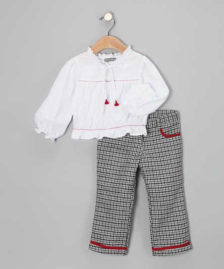 White Bow Blouse & Houndstooth Wool-Blend Pants - Girls