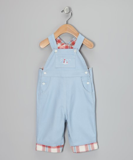 Light Blue Lighthouse Overalls - Infant