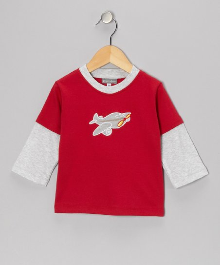 Red & Gray Airplane Layered Tee - Infant