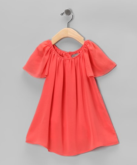 Orange Chiffon Swing Dress - Girls
