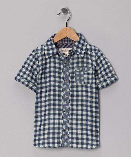 Blue Gingham Button-Up - Boys