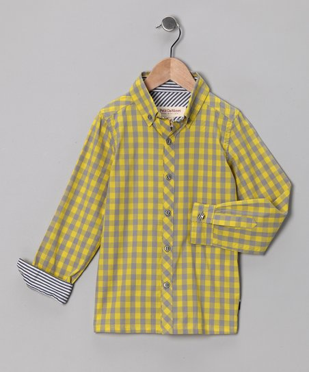 Yellow Gingham Button-Up - Toddler & Boys