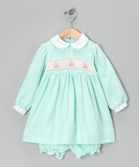 Mint Cupcake Dress & Bloomers - Infant