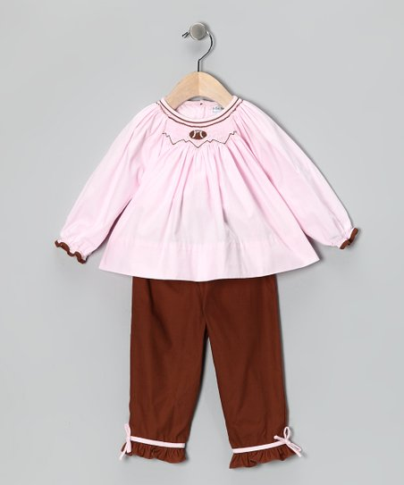 Pink Top & Brown Football Pants - Infant & Toddler