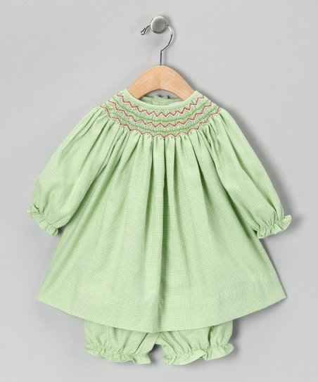 Lime Gingham Bishop Dress & Bloomers - Infant