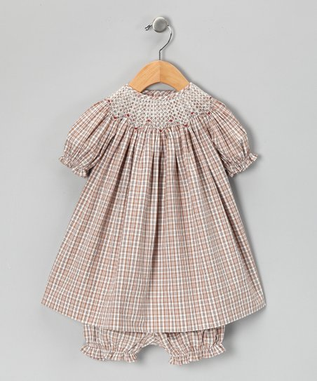 Chocolate Plaid Bishop Dress & Bloomers - Infant