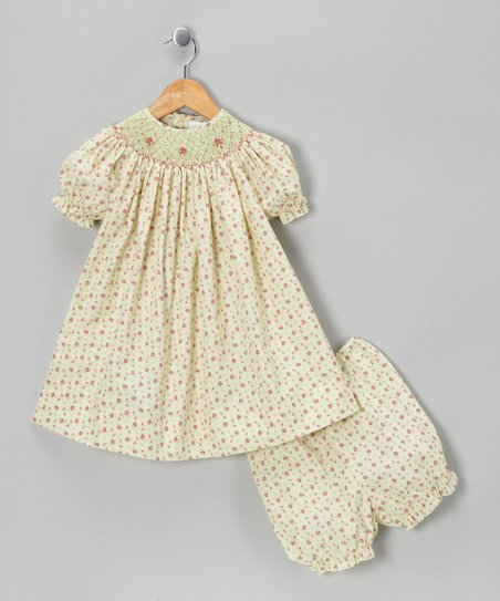 Ecru & Raspberry Floral Bishop Dress & Bloomers - Infant