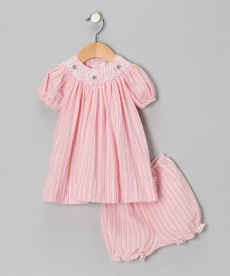 Pink Seersucker Bishop Dress & Bloomers - Infant