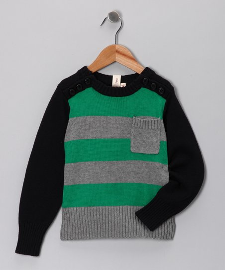 Petit De Nimes Gray & Green Marle Crewneck Sweater - Boys