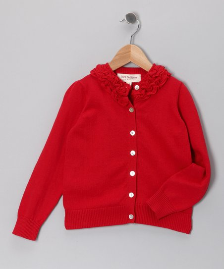 Red Bella Ruffle Cardigan - Toddler & Girls