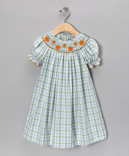 Blue & Green Pumpkin Bishop Dress - Girls