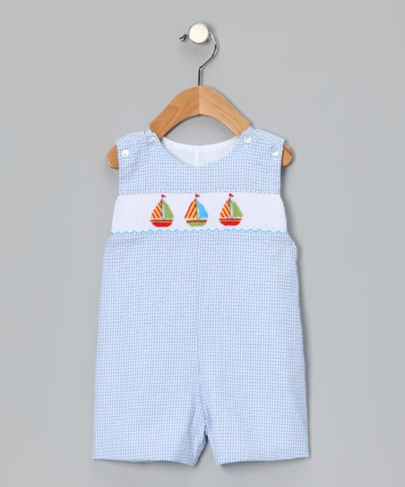 Blue Sailboat Seersucker Smocked John Johns - Infant & Toddler