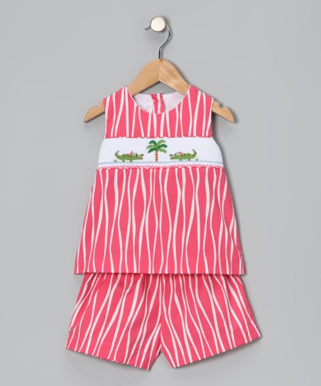Coral Alligator Smocked Top & Shorts - Girls