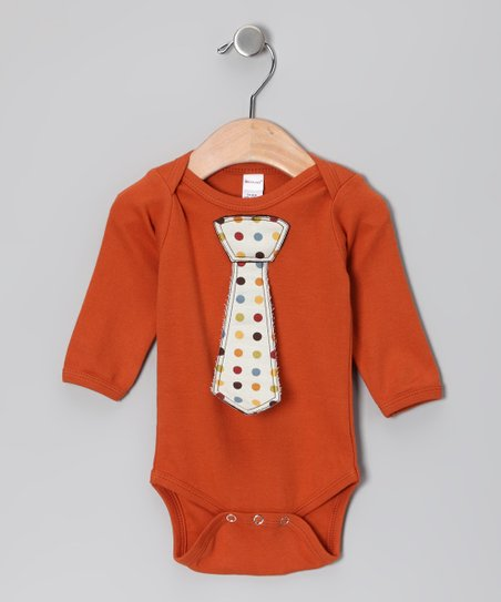 Orange Polka Dot Tie Bodysuit - Infant