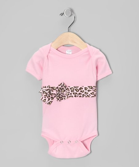 Pink Leopard Bow Bodysuit - Infant