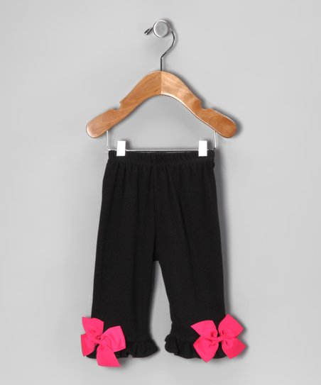 Black & Fuchsia Bow Pants - Infant & Toddler